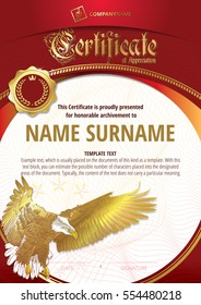 Template of Certificate  of Appreciation with golden badge and with golden eagle. Red version.
