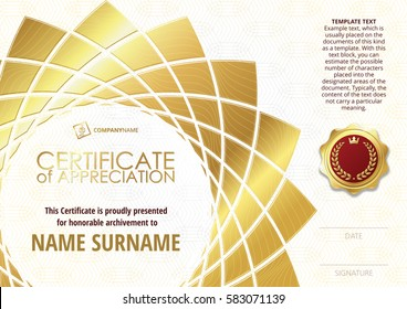 Template of Certificate of Appreciation with golden badge, with golden flower shaped elements. Horizontal version.