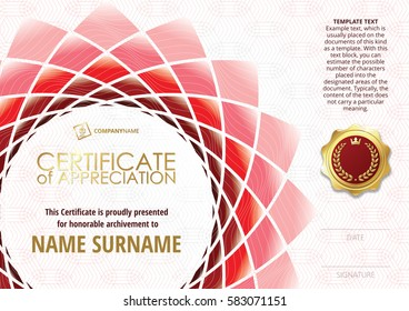 Template of Certificate of Appreciation with golden badge, with flower shaped elements of different shades of red. Horizontal version.