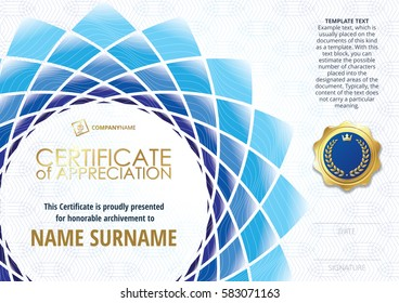 Template of Certificate of Appreciation with golden badge, with flower shaped elements of different shades of blue. Horizontal version.