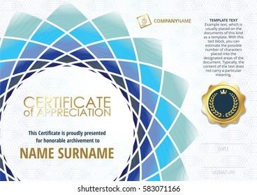 Template of Certificate of Appreciation with golden badge, with flower shaped elements of different shades of blue and greenish. Horizontal version.