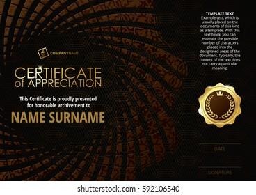 Template of Certificate of Appreciation with golden badge, with dark brown flower shaped elements, whit pattern. Horizontal version.