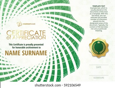 Template of Certificate of Appreciation with golden badge, with green flower shaped elements, whit pattern. Horizontal version.