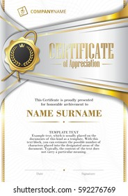 Template of Certificate of Appreciation with golden badge and patterned background, in silver