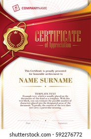 Template of Certificate of Appreciation with golden badge and patterned background, in red