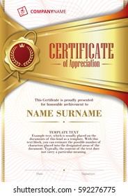 Template of Certificate of Appreciation with golden badge and patterned background, in gold
