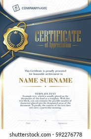 Template of Certificate of Appreciation with golden badge and patterned background, in blue