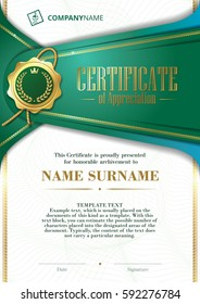 Template of Certificate of Appreciation with golden badge and patterned background, in green