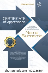 Template of Certificate of Appreciation with golden badge and elements in the form of arrows, in blue