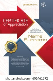 Template of Certificate of Appreciation with golden badge and elements in the form of arrows, in blue and red