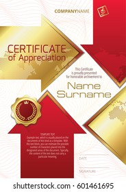 Template of Certificate of Appreciation with golden badge and elements in the form of arrows, in red and gold