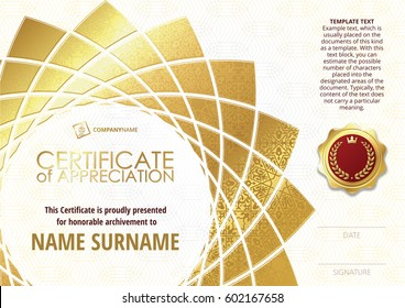 Template of Certificate of Appreciation with golden badge, with golden flower shaped elements, whit gold oriental pattern. Horizontal version.