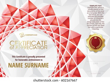 Template of Certificate of Appreciation with golden badge, with flower shaped elements of red triangles. Horizontal version.