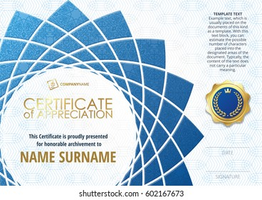 Template of Certificate of Appreciation with golden badge, with blue flower shaped elements, whit oriental pattern. Horizontal version.