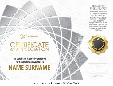 Template of Certificate of Appreciation with golden badge, with silver flower shaped elements, whit silver oriental pattern. Horizontal version.