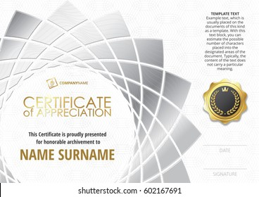 Template of Certificate of Appreciation with golden badge, with silver flower shaped elements. Horizontal version.