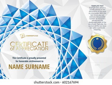 Template of Certificate of Appreciation with golden badge, with flower shaped elements of blue triangles. Horizontal version.