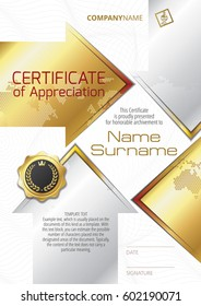 Template of Certificate of Appreciation with golden badge and golden elements in the form of arrows, in silver and gold