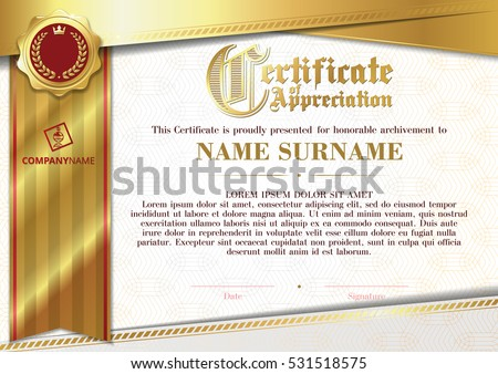 Template Of Certificate Appreciation With Golden Badge And Ribbon Horizontal