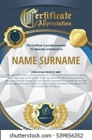 Template of Certificate of Appreciation with three golden badges, gold wreath, triangular background and blue round frame