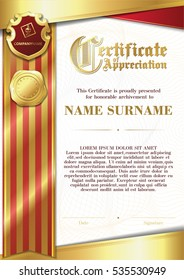 Template of Certificate of Appreciation with two golden badges and with red and gold ribbon