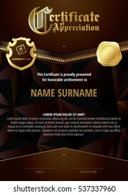 Template of Certificate of Appreciation with two golden badges and dark brown elements