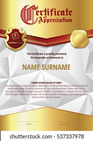 Template of Certificate of Appreciation with two golden badges and with golden elements