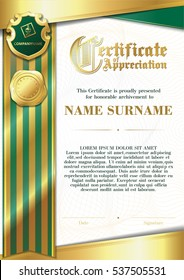 Template of Certificate of Appreciation with two golden badges and with green and gold ribbon