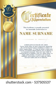 Template of Certificate of Appreciation with two golden badges and with blue and gold ribbon