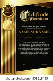 Template of Certificate of Appreciation with two golden badges and with dark brown and gold ribbon