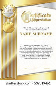 Template of Certificate of Appreciation with two golden badges and with silver and gold ribbon