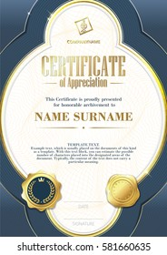 Template of Certificate of Appreciation with two golden badges and with blue elements