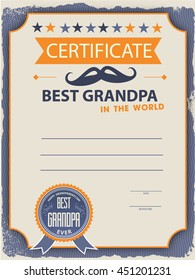 template of the certificate (diploma) congratulations for happy grandparents day in vintage retro style. best grandpa ever vector illustration.