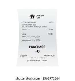 Template of a check from a shop or supermarket or restaurant. White cashier receipt