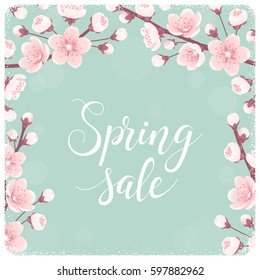 Template with cherry blossom, spring flowers. Spring sale lettering. Retro vector illustration. Bokeh background. Invitation, banner, card, poster, flyer