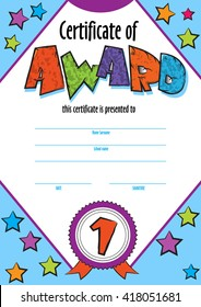 template child certificate to be awarded kindergarten preschool kids diploma design template vector for