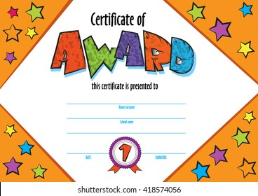 template child  certificate to be awarded. kindergarten Preschool kids Diploma design template. vector  for competition, art contest or sports winner.