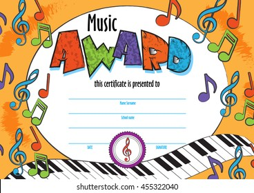 template child music certificate to be awarded. kindergarten Preschool kids Diploma design template. vector for competition, music winner, singing festival
