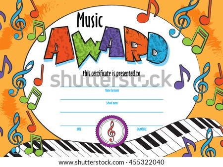Template Child Music Certificate Be Awarded Stock Vector Royalty