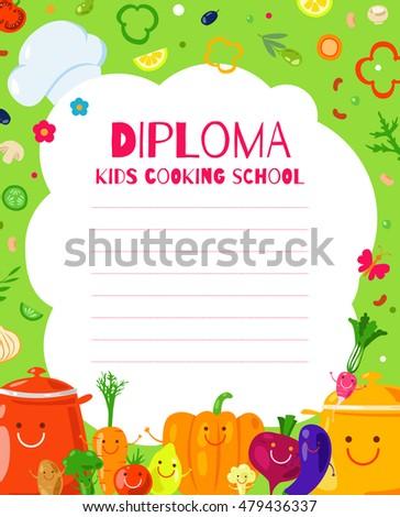 Template Childrens Diplomas Certificates Cooking School Stock Vector ...