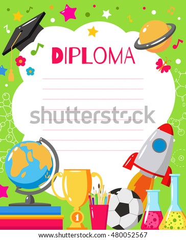 Template Childrens Diplomas Certificates Kids Award Stock Vector ...