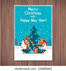 Template Christmas card in a cartoon style. Symbol 2015 sheep. Cartoon couple of sheep dresses up Christmas tree.