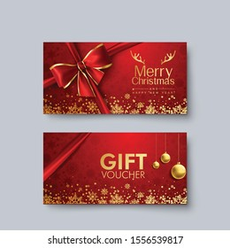 Template Christmas Gift Voucher Coupon Discount, Abstract snow Background, Golden Color. Vector illustration.