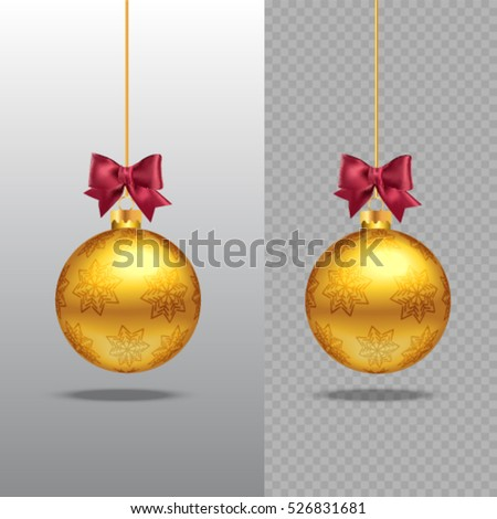 Template Of Christmas Gold Ball Stocking Element Decorations Transparent Vector Object For Design