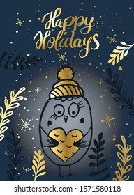 Template Christmas greeting card with a bird. Christmas winter vector illustration for the design of cards, packaging, poster, clothing