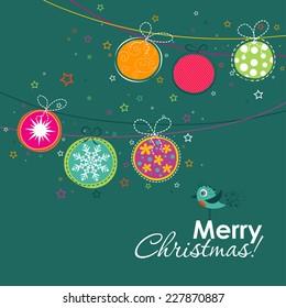 Template Christmas greeting card, vector illustration.