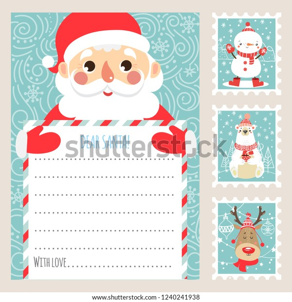 photograph regarding Santa Claus Printable referred to as Template Xmas Letter Santa Claus Printable Inventory Vector