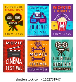 Template of cinema cards. Vector designs of various cinema cards. Illustration of banner entertainment cinema