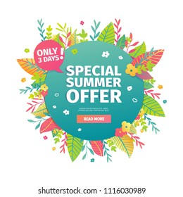 Template circle banner for summer offer. Layout poster for summer discount with floral decoration, leaf and blossom flower. Season sale design. Vector.