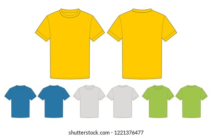 Template Clean Mens T Shirt For Design Mix The Colors Yellow Blue